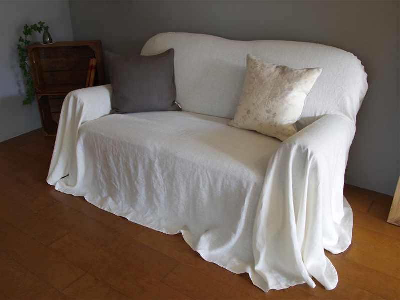 Linen Plains Lina【Lina Washed White】( Sofa / Curtain )