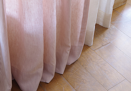 Chambray pink カーテンの裾サイズ加工済