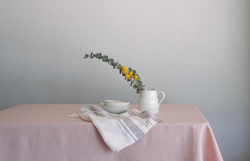 Chambray pink テーブルクロス サイズ加工済