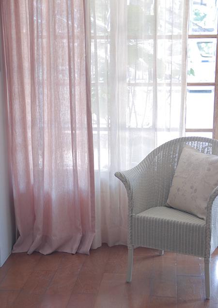 Chambray pink カーテンサイズ加工済