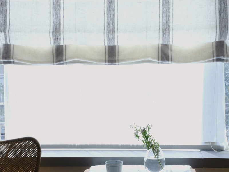 Linen Stripes Lina【Lina Marine No.7】 ( Curtain )