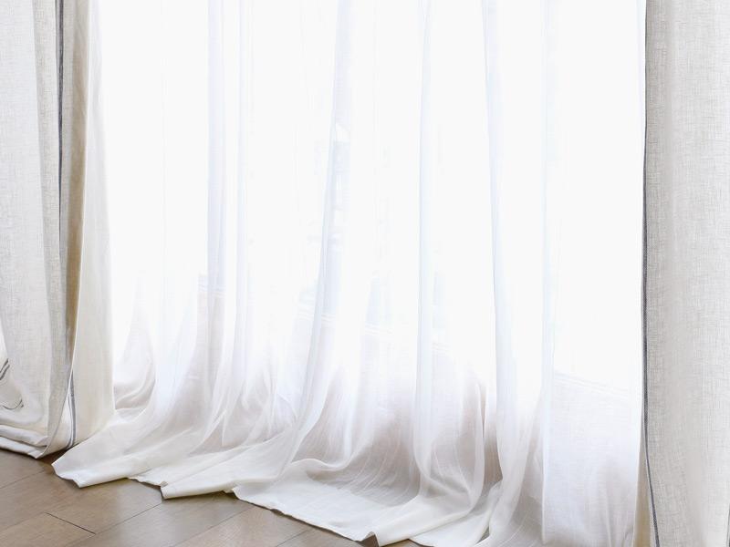 Linen Muslin 【 Muslin Half Linen Stripe White 】 ( Curtain )